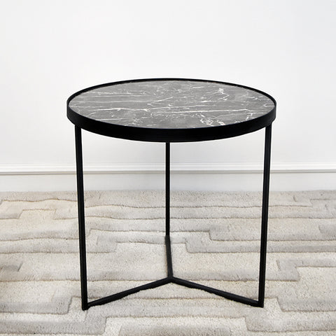Zephyrus III Marble Black End Table, Tall