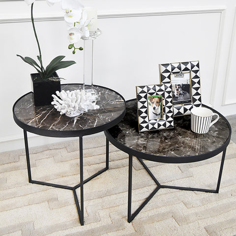 Zephyrus Natural Marble Coffee Table nesting with coffee table decor