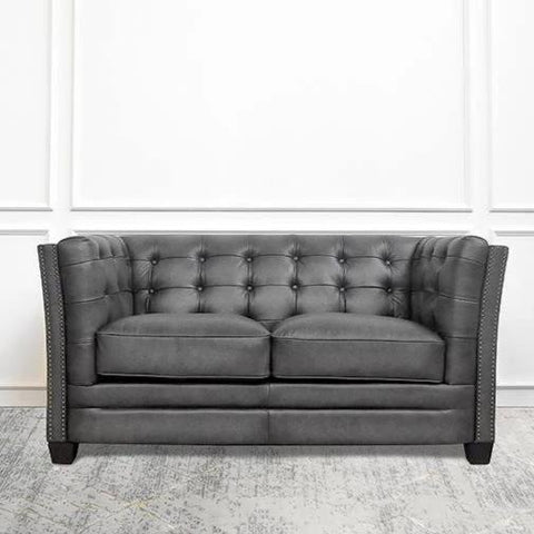 Devon Leather Chesterfield Sofa, 2-Seater