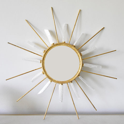 White Quartz Gold Wall Mirror