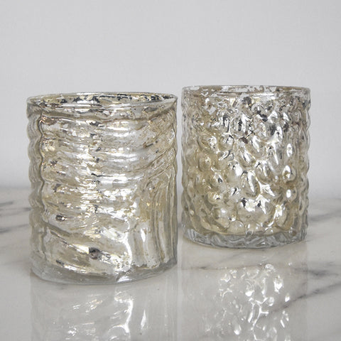 Mercury Glass Votive Holders, Set of 2