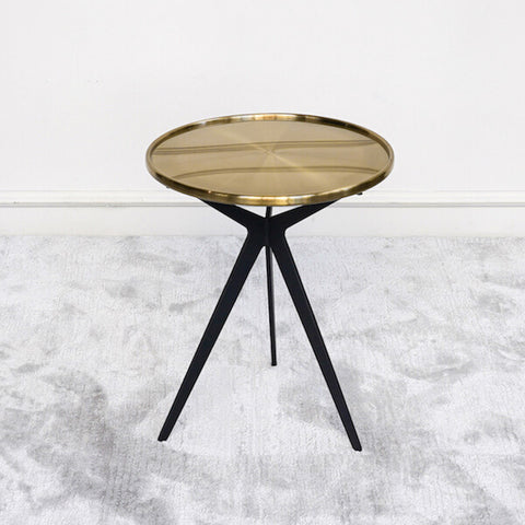 Dante Gold Tripod Side Table, Stainless Steel Metal