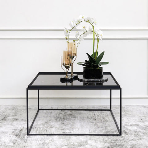 Davide Black Marble Coffee Table with Table Decor Ideas