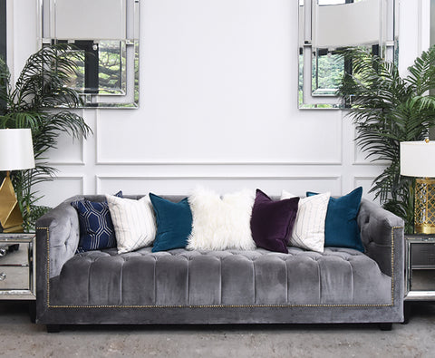 Sofa - Chesterfield Fabric Sofa, 3-seater in Grey is displayed at Finn Avnue showroom.