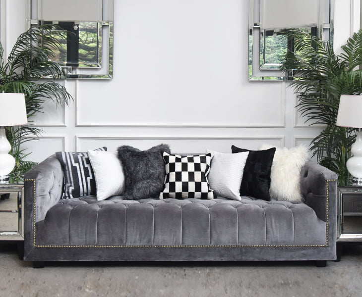 Candice Olson Collection: City Stripes Gray Linen-Velvet Down ...