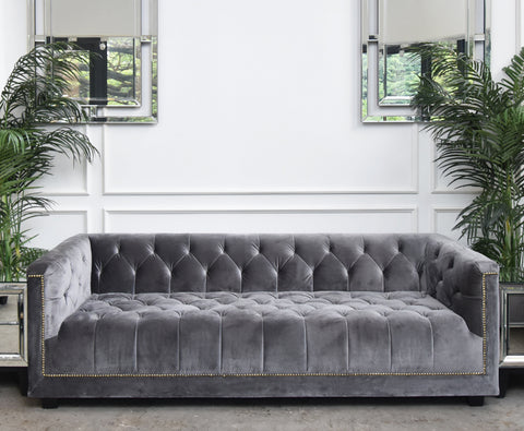 Chesterfield 3 Seater Sofa in Grey Velvet in Monochrome home design ideas and  inspirations