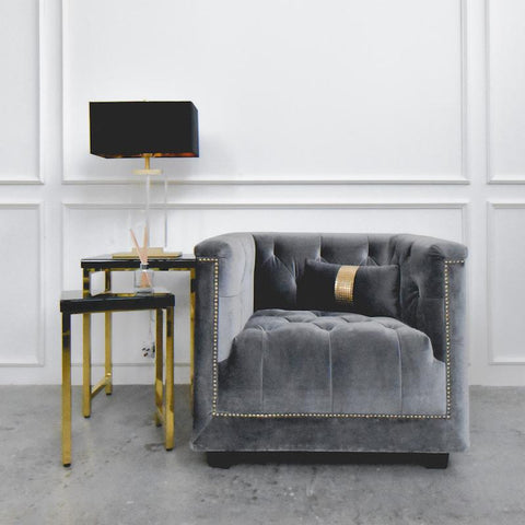 Chesterfield Armchair in Velvet Grey