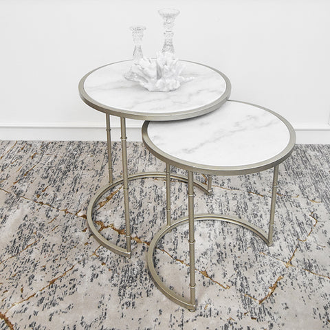 Elle White Gold Marble Round Nesting End Table, Two Sizes