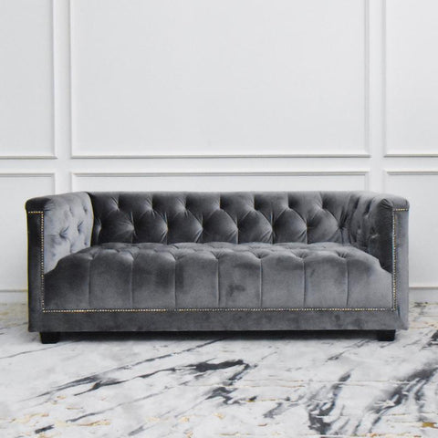 Small Chesterfield Sofa, 2-seater, Grey Velvet