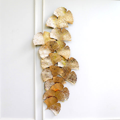 Eden Wall Art Sculpture, Rustic Gold Textured Leaves, Large