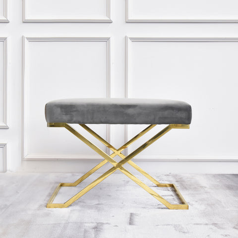 Edgard Grey Gold Stool