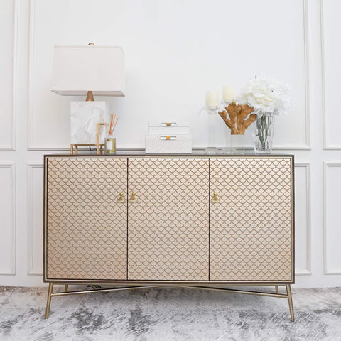 Elize 3 Door Gold Cabinet in Mid Century Furniture Design with Entrance Decor Ideas