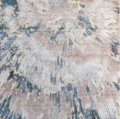 Elodie Luxury Silky Rug, Dusty Pink Blue