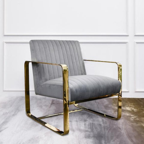 Emilie Art Deco Gold Armchair, Cream Velvet