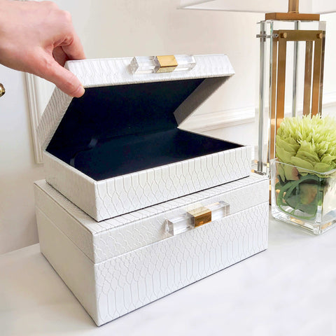 Empire White Gold Leather Boxes in Faux Snakeskin Table Decor in Modern Living Room Design