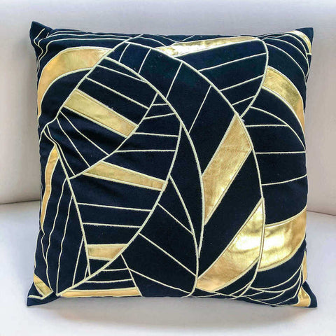 Escada Jacquard Striped Cushion, Black Gold