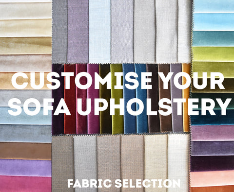 Customise your sofa upholstery. View the fabric swatches  at Finn Avenue Singapore.