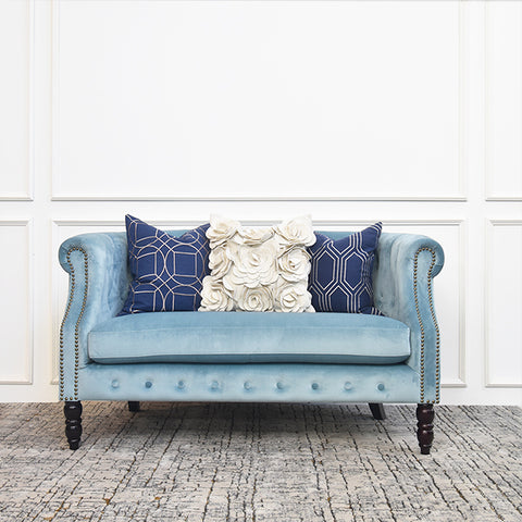 Fayette Chesterfield 2-Seater Loveseat Sofa, Velvet Aquamarine Blue