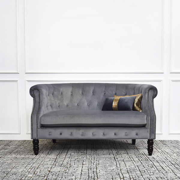Fayette Chesterfield 2-Seater Loveseat Sofa, Velvet Gray