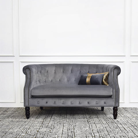 Fayette Chesterfield Sofa, 2-Seater Loveseat, Velvet Grey