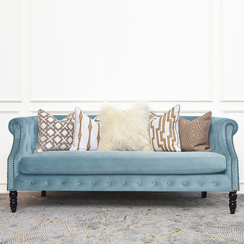 Fayette Chesterfield 3-Seater Sofa, Aquamarine Blue Velvet