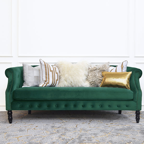 Fayette Chesterfield 3-Seater Sofa, Velvet Emerald Green