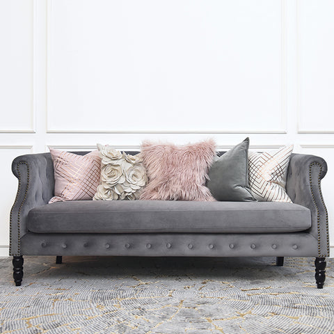 Fayette Chesterfield 3-Seater Sofa, Velvet Grey