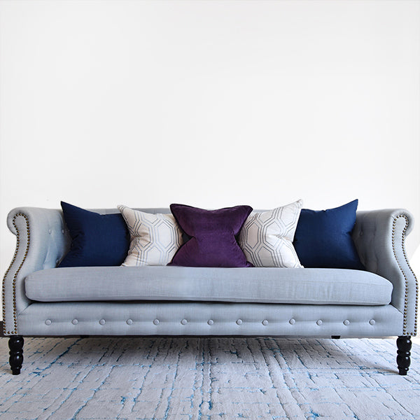Fayette Chesterfield 3-Seater Sofa, Gray Blue