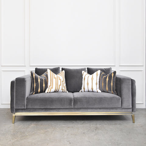 Fitzgerald Sofa, Gold Stainless Steel Leg Feet Base