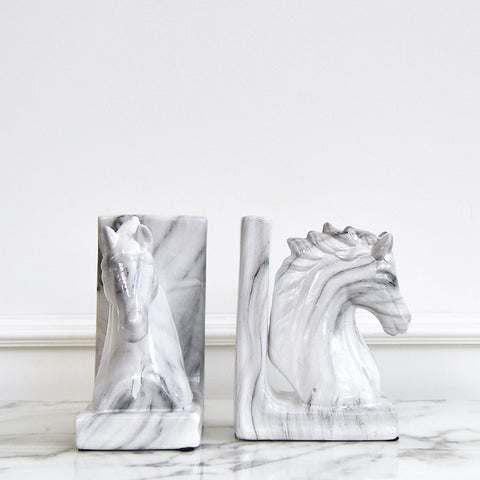 Faer Marbled Horse Bookends (Set of 2)