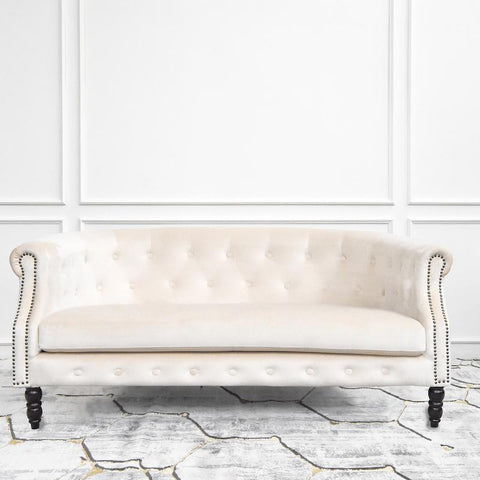 Fayette Chesterfield 3-Seater Sofa, Ivory Velvet