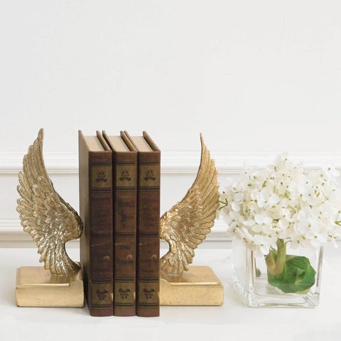 Fifine Gold Angel Wings Pedestal Bookends Petite with Antique Book Boxes Table Decor