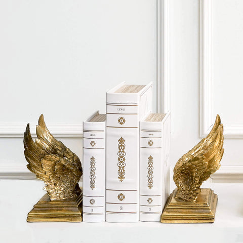 Fifine-II Rustic Gold Angel Duo Soaring Wings Bookends Decor
