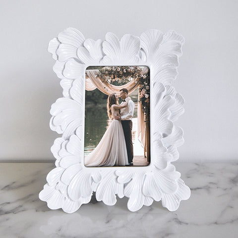Modern Art Deco Photo Frame, White