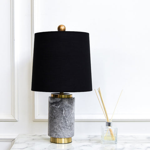 Francois II Grey Marble Table Lamp, Black