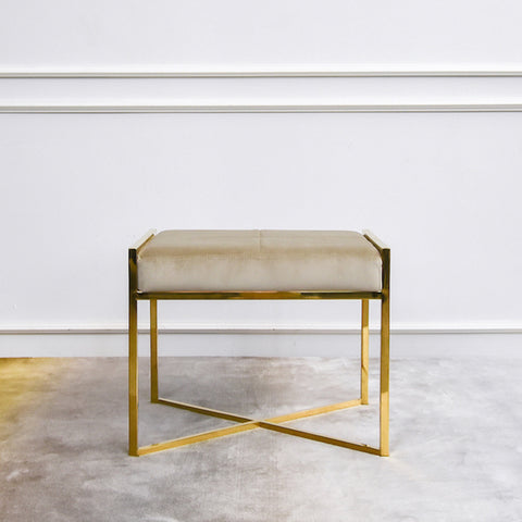 Frederic Footstool Ottoman, Gold Crossed Leg