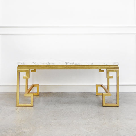 Galatea Marble Coffee Table, White & Gold