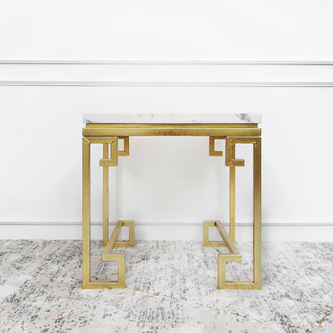 Galatea white & gold marble end table