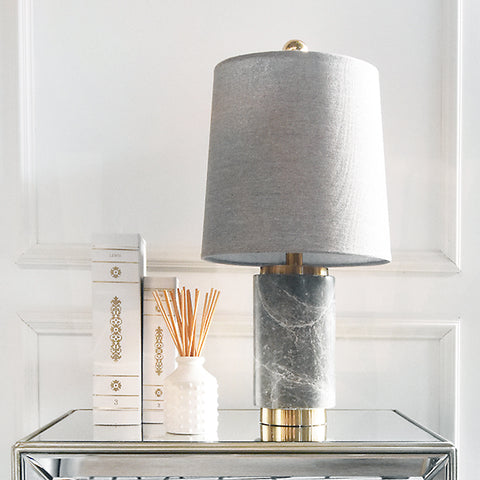 Francois Grey Marble Table Lamp, Grey