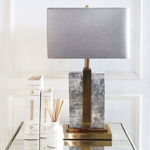 Aurelien Gold & Grey Marble Table Lamp