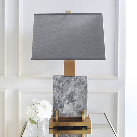 Grey marble table lamp in brass gold finish