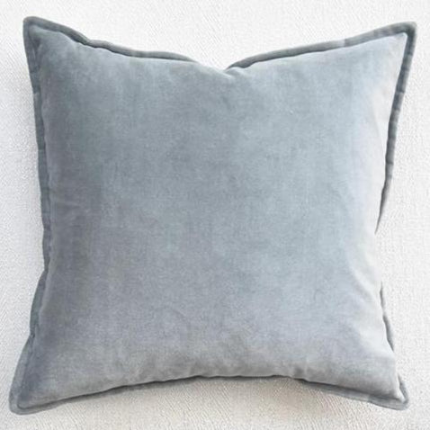 Light Blue-Gray Velvet Down Feather Cushion