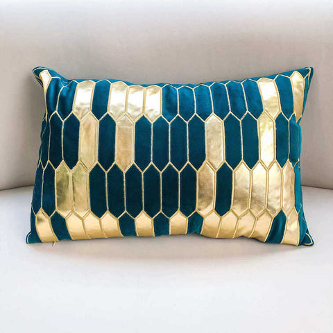 Gabbana Boudoir Geometric Jacquard Cushion, Gold Teal