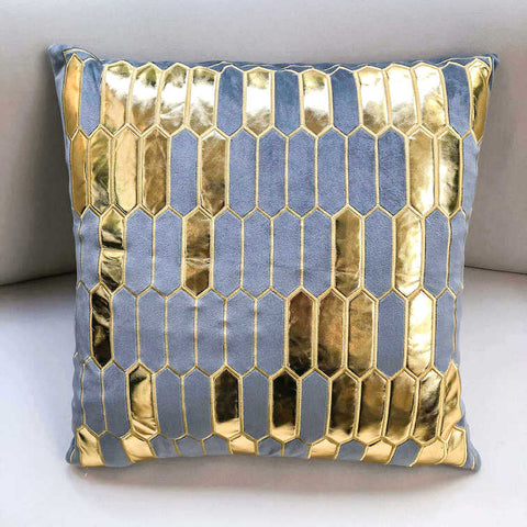 Gabbana Geometric Jacquard Cushion, Gold Grey
