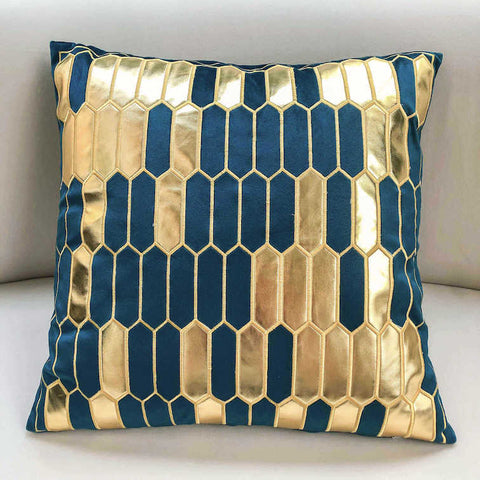 Gabbana Geometric Jacquard Cushion, Gold Teal