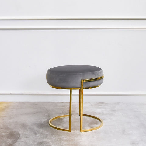 Gabrielle Gold Dressing Table Stool Ottoman, Round