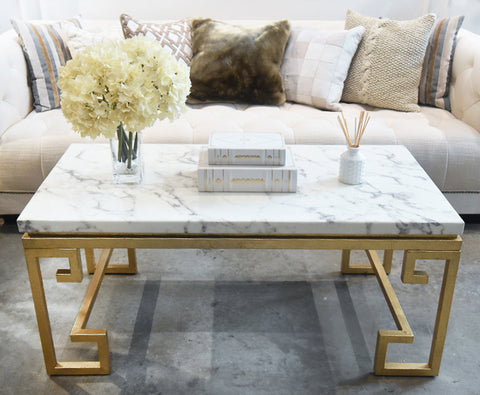 Marble Coffee Table. White Marble with Gold Greek Legs Design. Displayed in Singapore at Finn Avenue Home Luxury Furniture Store.