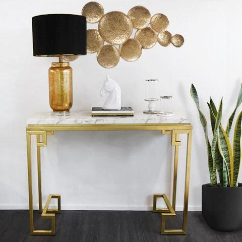 Galatea white & gold marble console table. White marble table top with greek design gold-leaf finish metal legs.