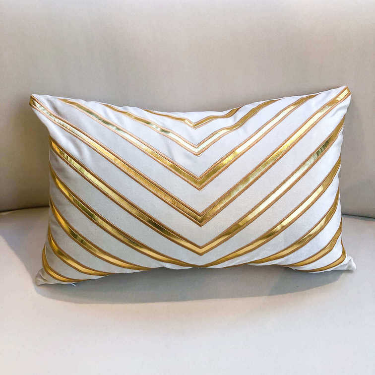 Galliano Boudoir Gold White Geometric Cushion