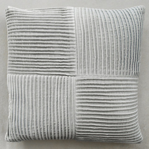 GlucksteinHome Conrad Cushion, Pleated Velvet Warm Grey